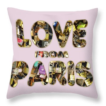 Throw Pillow featuring the painting Paris City Of Love And Lovelocks by Georgeta Blanaru