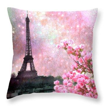Paris Eiffel Tower Cherry Blossoms - Paris Spring Eiffel Tower Pink Cherry Blossoms  Throw Pillow