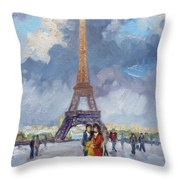 Paris Eiffel Tower Throw Pillow