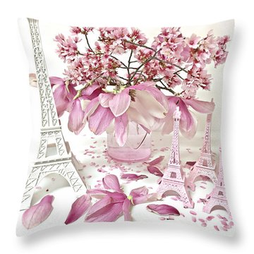 Throw Pillow featuring the photograph Paris Eiffel Tower Spring Magnolia Flower Blossoms - Paris Pink White Spring Blossoms  by Kathy Fornal