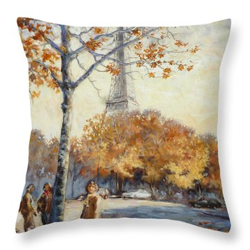 Paris Fall In Trocadero Park Throw Pillow