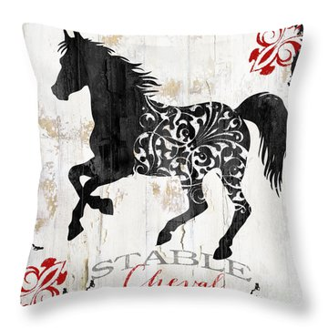 Paris Farm Sign Horse Throw Pillow