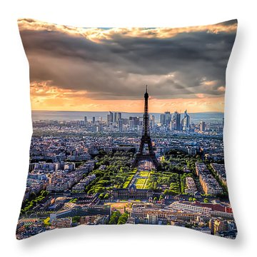 Paris From Above Throw Pillow by Tim Stanley