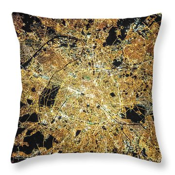 Paris From Space Throw Pillow by Delphimages Photo Creations