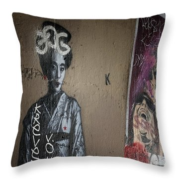 Paris Grafitti Geisha Throw Pillow