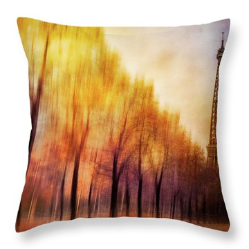Paris In Autumn Throw Pillow by Marty Garland
