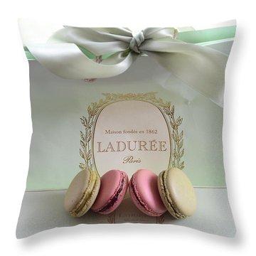 Paris Laduree Mint Box Of Macarons - Paris French Laduree Macarons  Throw Pillow