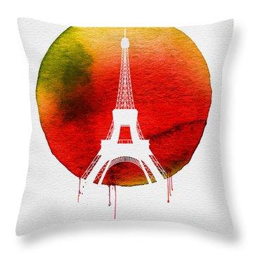 Paris Landmark Red Throw Pillow