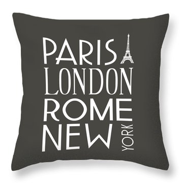 Paris, London, Rome And New York Pillow Throw Pillow