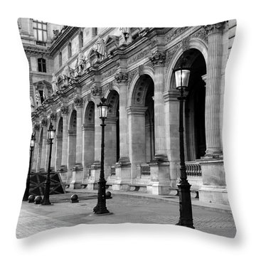 Paris Louvre Black And White Architecture - Louvre Lantern Lights Throw Pillow