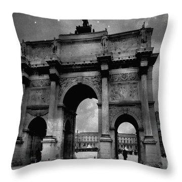 Throw Pillow featuring the photograph Paris Louvre Entrance Arc De Triomphe Architecture - Paris Black White Starry Night Monuments by Kathy Fornal