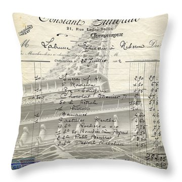 Paris Love Chocolate Wine Throw Pillow by Edward Fielding