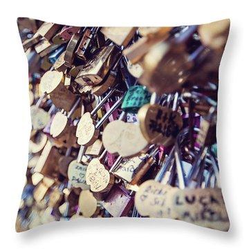 Paris Love Locks Throw Pillow by Melanie Alexandra Price