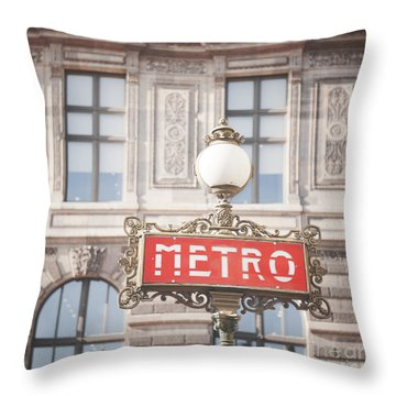 Paris Metro Sign Architecture Throw Pillow