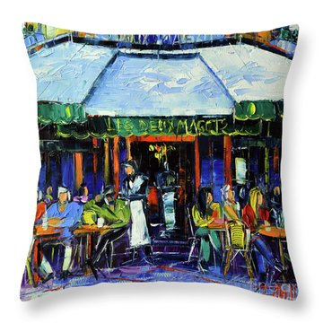Paris Morning At Les Deux Magots - Modern Impressionism Oil Painting Mona Edulesco Throw Pillow