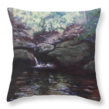 Throw Pillow featuring the painting Paris Mountain Waterfall by Robert Decker