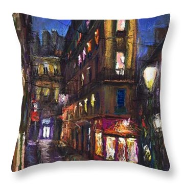 Paris Old Street Throw Pillow by Yuriy  Shevchuk