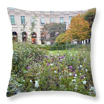 Throw Pillow featuring the photograph Paris Palais Royal Gardens - Paris Autumn Fall Gardens Palais Royal Rose Garden - Paris In Bloom by Kathy Fornal