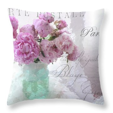 Paris Peonies - Parisian Pink Peonies Pink Aqua French Decor - Paris Floral Wall Art Home Decor  Throw Pillow