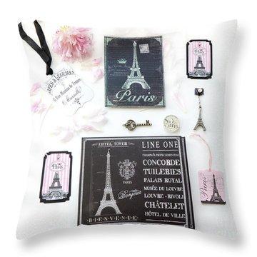 Throw Pillow featuring the photograph Paris Pink Black French Script Wall Decor Art, Paris Print Collection  - Parisian Pink Black Decor   by Kathy Fornal