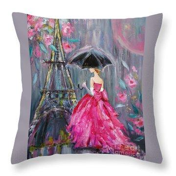 Throw Pillow featuring the painting Paris Rain by Jennifer Beaudet