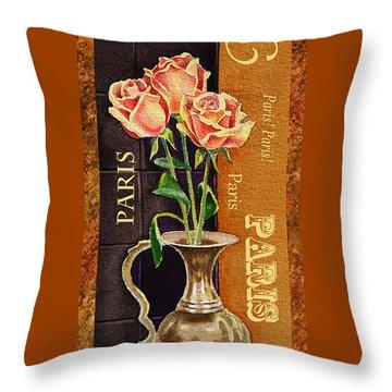 Paris Roses Throw Pillow