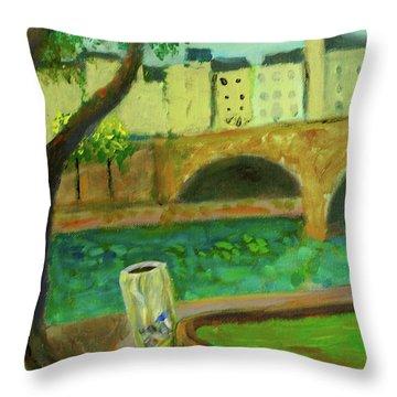 Paris Rubbish Throw Pillow