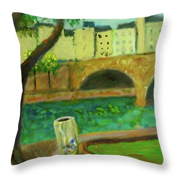 Paris Rubbish Throw Pillow