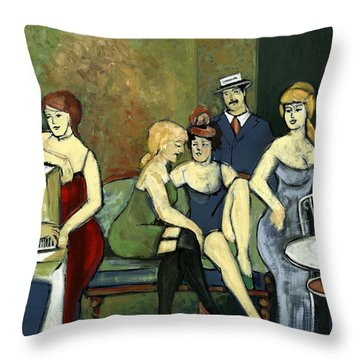 Paris Salon Scene Women In Seductive Cloths Impressionistic Piano Hats Table Chair Mustache  Throw Pillow