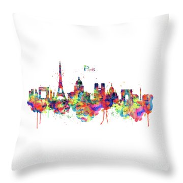 Throw Pillow featuring the mixed media Paris Skyline 2 by Marian Voicu