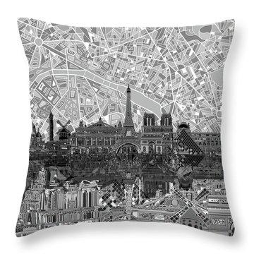 Paris Skyline Black And White Throw Pillow