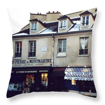 Paris St. Pierre Montmartre Cafe Restaurant Pub Photos - Paris Winter Snow In Montmartre District  Throw Pillow