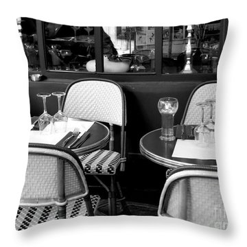 Paris Street Side Cafe Throw Pillow
