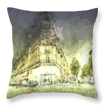 Throw Pillow featuring the mixed media Paris Streets by Jim  Hatch