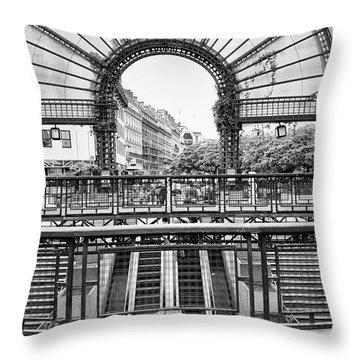Throw Pillow featuring the photograph Paris Subway Station by Dave Beckerman