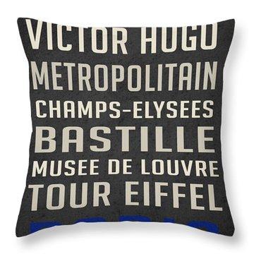 Paris Subway Stations Vintage Throw Pillow