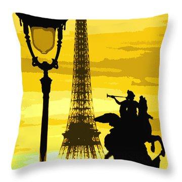 Paris Tour Eiffel Yellow Throw Pillow by Yuriy  Shevchuk