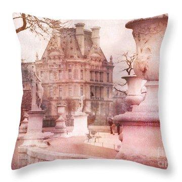 Paris Tuileries Park Garden - Jardin Des Tuileries Garden - Paris Tuileries Louvre Garden Sculpture Throw Pillow by Kathy Fornal