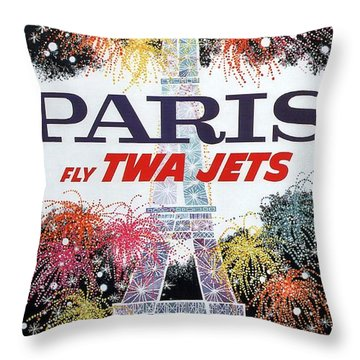 Paris - Twa Jets - Trans World Airlines - Eiffel Tower - Retro Travel Poster - Vintage Poster Throw Pillow