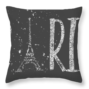Paris Typography - Grey - Silver Splashes Throw Pillow