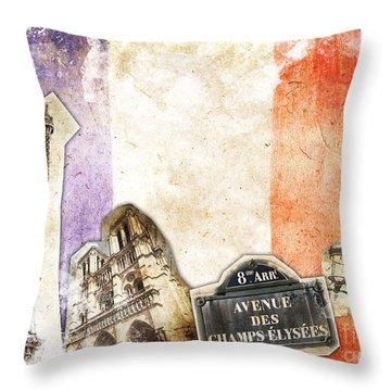 Paris Vintage Collage Throw Pillow