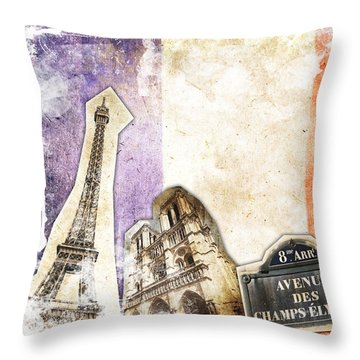 Paris Vintage Collage Throw Pillow