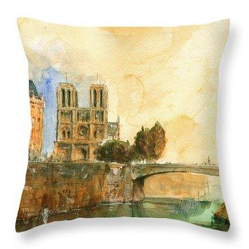Paris Watercolor Throw Pillow by Juan  Bosco