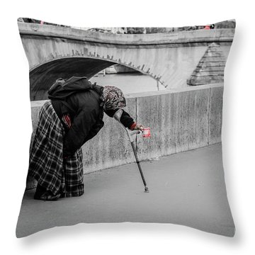 Parisian Beggar Lady Throw Pillow