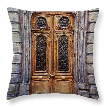 Throw Pillow featuring the painting Parisian Door No. 15 by Joey Agbayani