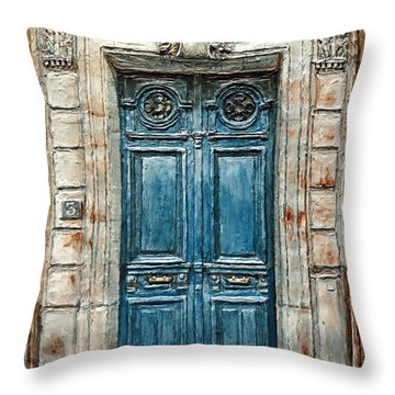 Parisian Door No. 3 Throw Pillow