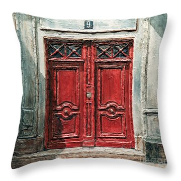 Parisian Door No.9 Throw Pillow