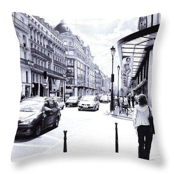 Parisian Street - Ballpoint Pen Art Throw Pillow