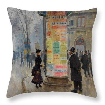 Throw Pillow featuring the photograph Parisian Street Scene by John Stephens