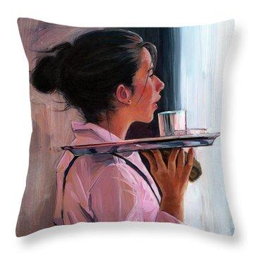 Parisian Waitress Throw Pillow